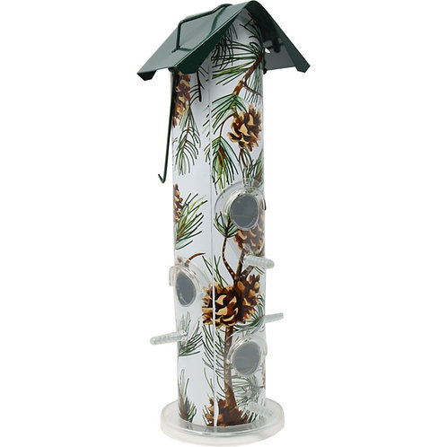 White background, with pine needles and pine cones printed metal bird feeder.