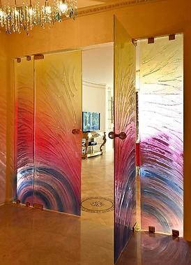 Architectural Glass Doors windows panels and accessories from Europe. Interior design decoration fitout service by Expomod in Dubai.