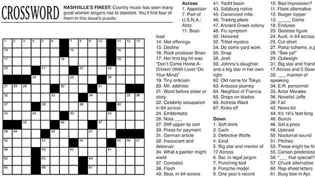 Debonair crossword