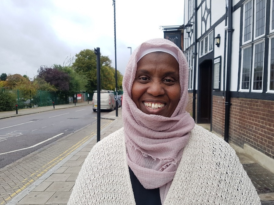 Picture of Amina Ismail smiling on a Lewisham Street
