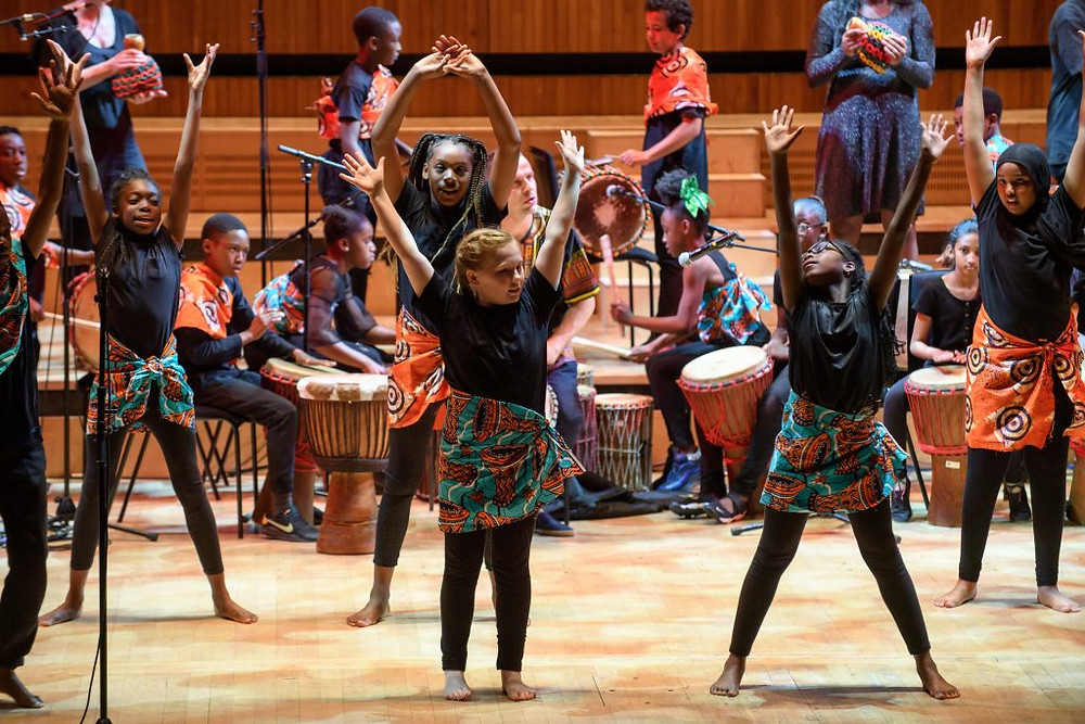 Picture of Children on stage performing African dance