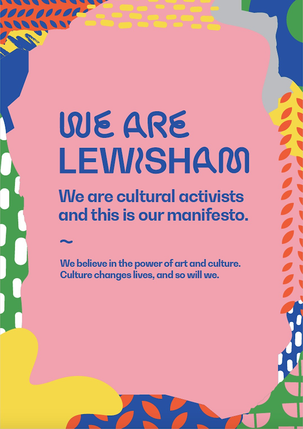 pink and blue graphic of the Lewisham Borough of Culture Manifesto
