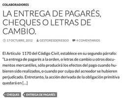 LA ENTREGA DE PAGARÉS, CHEQUES O LETRAS DE CAMBIO.
