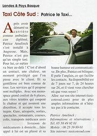 Article de Journal Taxi cote sud