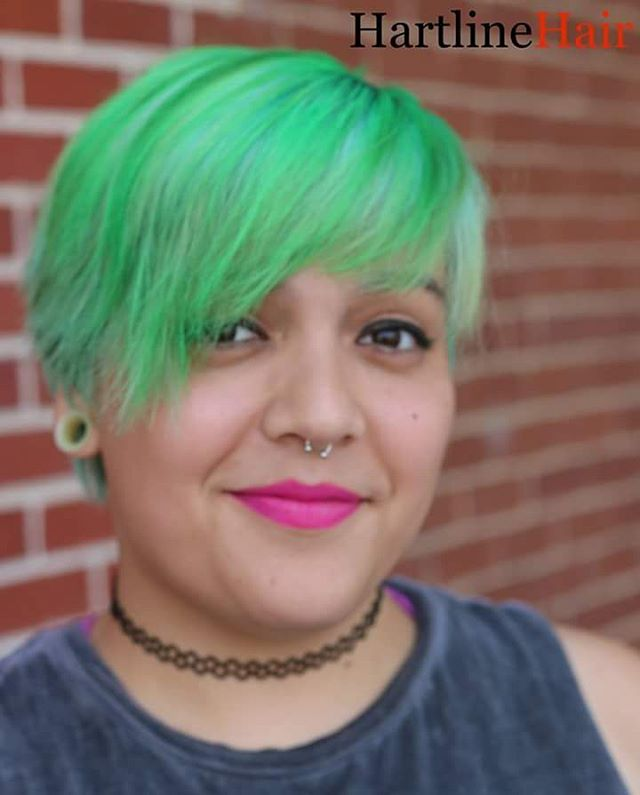 Showstopping Green Vivid Hair Color