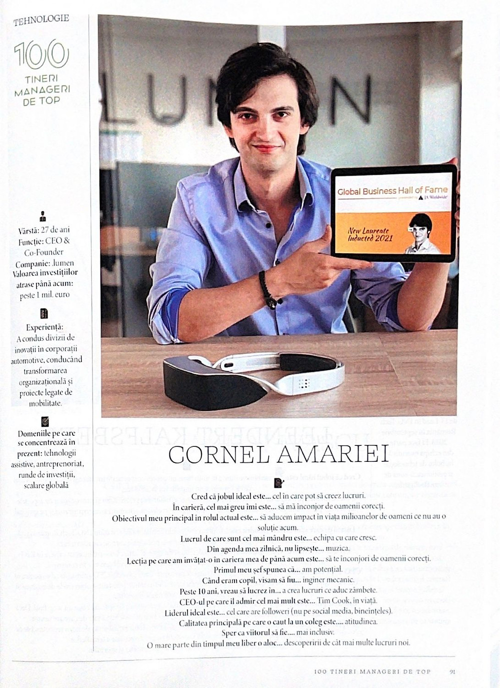 A scan of Business Magazin's page on Cornel Amariei
