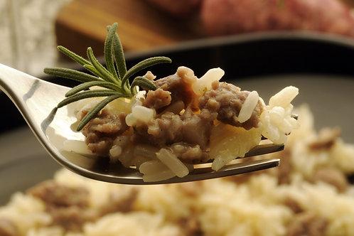Horseradish Cream Risotto w/ Dijon Beef Tips & Haricot Vert