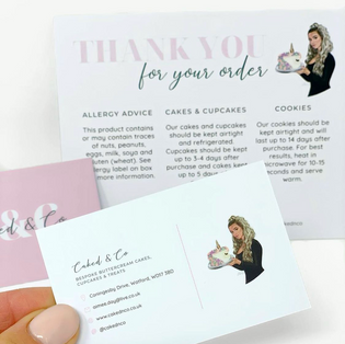 Caked & Co Business and 'Thank You' Cards