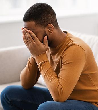 Male Depression. Desperate Depressed Afr
