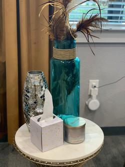 tissue box and flower vase