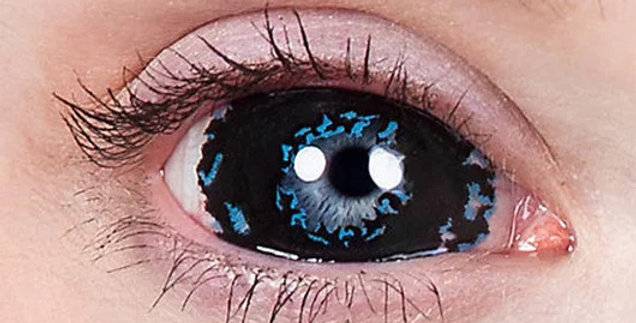 Black and Blue Apocalypse Sclera Contacts 22mm USA