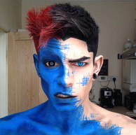 Teabuckle blue body paint guy with Titan mini sclera contacts