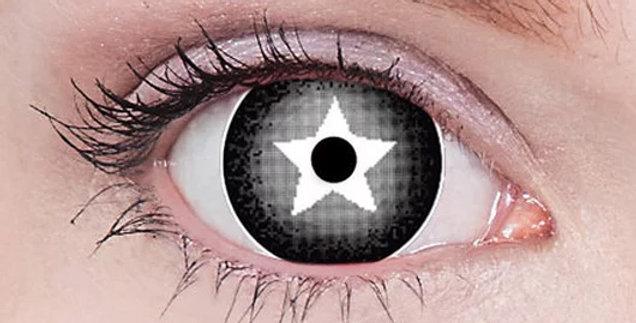 Stargazer grey and black white star mini sclera contacts