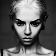 Black sclera Contact lenses on Beatriz Mariano