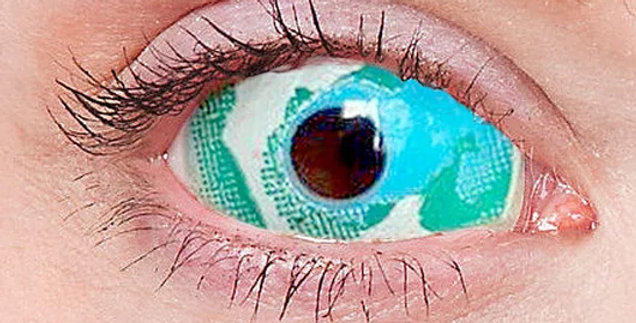 Oracle Blue and White sclera contact lenses