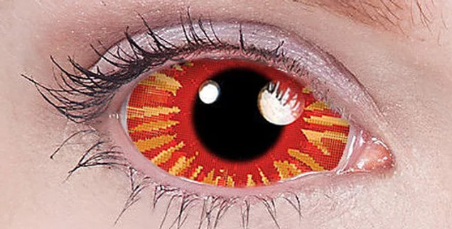 Burst Design Orange with lines sclera contacts product