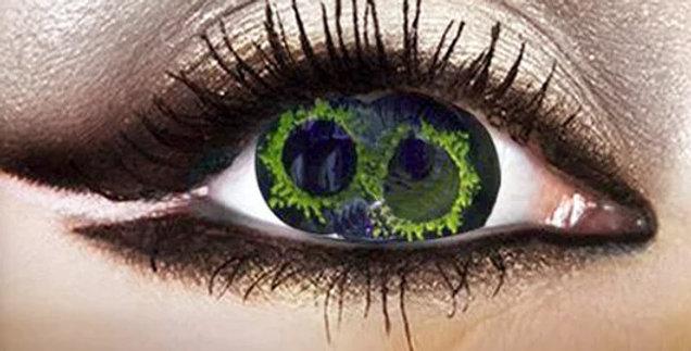 Ahmanet Green sclera contact lenses 2 pupils