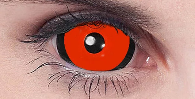 Expanded Ghoul Sclera Lenses USA Red and Black
