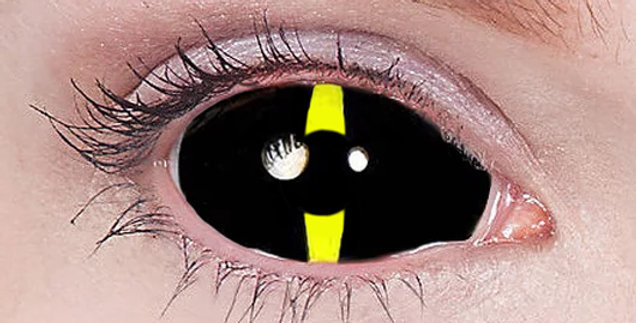 Black lash yellow Sclera contacts USA