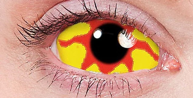 Nemesis yellow and red 22mm full eye sclera contacts USA