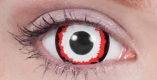Minotaur black red and white mini sclera contacts