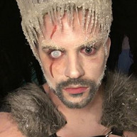 Ice King costume with white mesh sclera contact