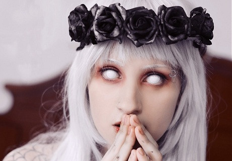 Whiteout Blind Pair Sclera Contact Lenses Black