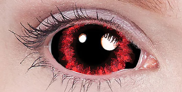 Red Shock Sunpure sclera contact lenses flames