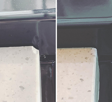 Before & after pictures of a chipped Corian countertop