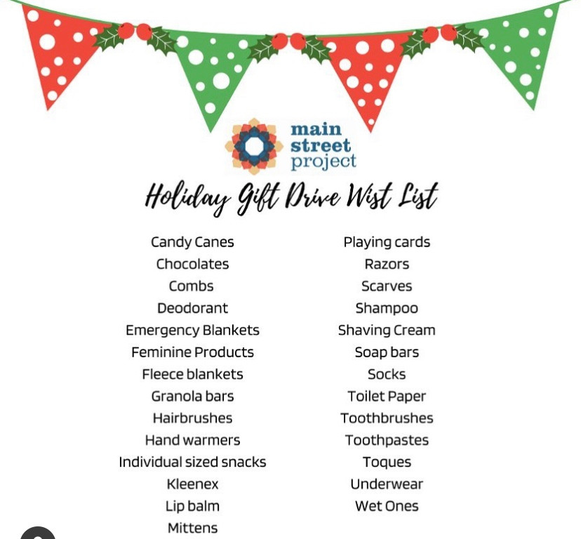 List of items to buy for Main Street Project's holiday wish list