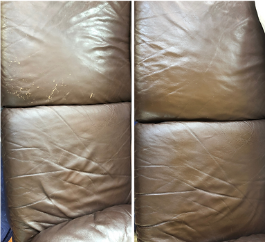 Before & after pictures of a worn leather couch