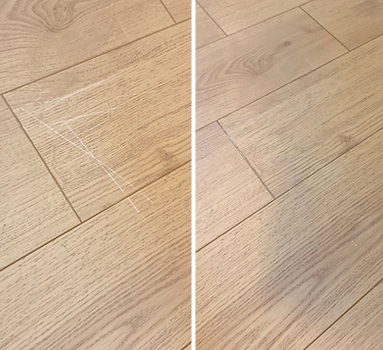 Before & after pictures of scratched hardwood