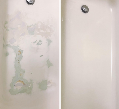 Before & after pictures of a damaged tub