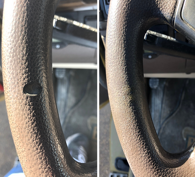 Before & after pictures of a gouged steering wheel