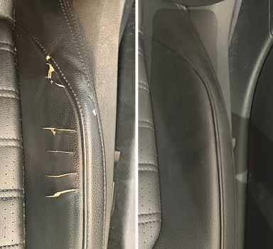 Before & after pictures of a cracked vinyl car seat