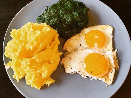 Kartoffelpüree mit Rahmspinat und Spiegelei