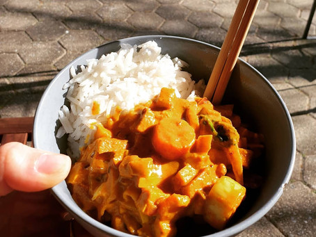 Veganes Curry mit Rhabarber