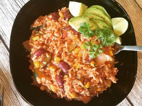 Vegane Zucchini Reispfanne mexican style