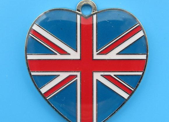 Heart Union Jack Flag Dog Tag