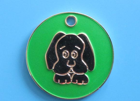 Enamel Nickel Dog Head  Dog Tag