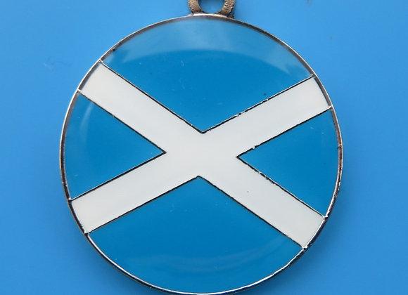 Round Scottish Flag Dog Tag