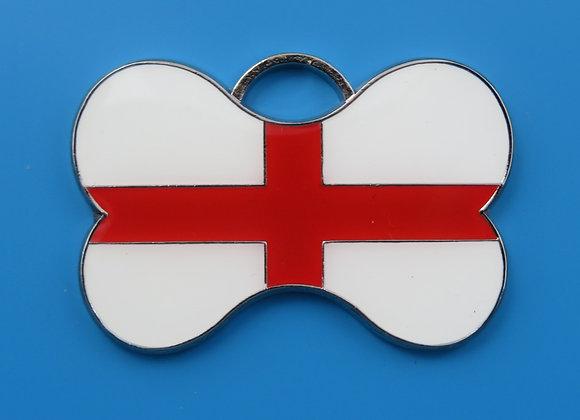St. Georges Flag Dog Tag - Bone Shape