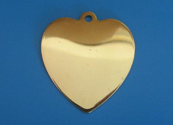 Polished Brass Heart Dog Tag