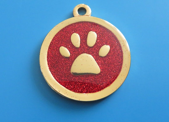 Round Red Glitter Paw Dog Tag - 28mm