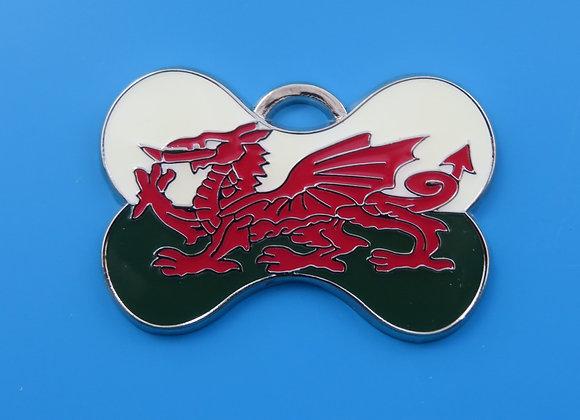 Welsh Flag Dog Tag - Bone Shape