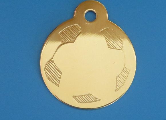 Polished Brass Football Dog Tag