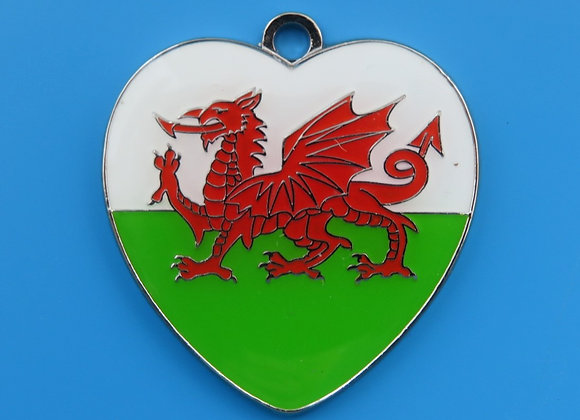 Heart Welsh Flag Dog Tag