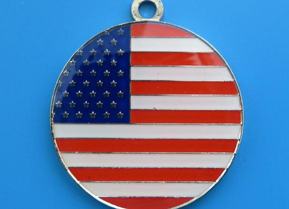 Round USA Flag Dog Tag