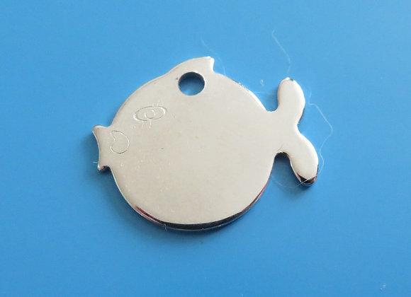 Brass Fish Cat Tag