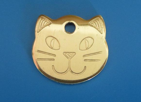 Polished Brass Cats Head Dog Tag